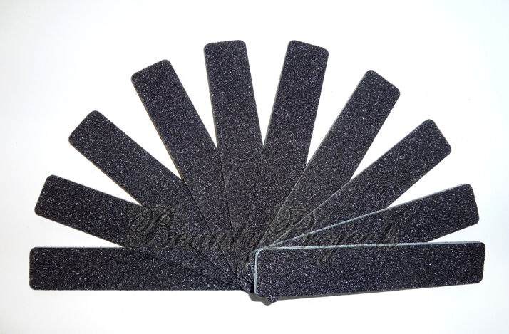 "10pc Nail File Black Jumbo 100/100 Grit Square Shape 7x1"" Pl"