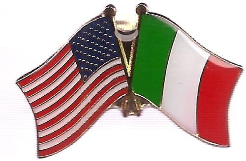 LOT OF 12 Italy Friendship Flag Lapel Pins - Italian Crossed Flag Pin