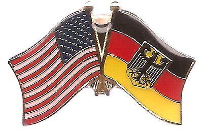LOT OF 3 Germany w/Eagle Friendship Flag Lapel Pins - German Crossed Flag Pin