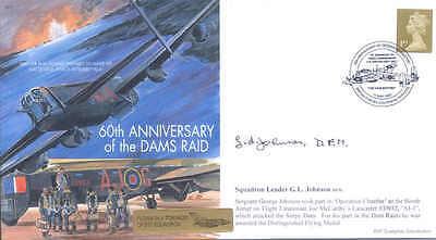 MF6 617 Sqn RAF Lancaster Dambusters WW2 WWII cover signed Dams Raid JOHNSON DFM