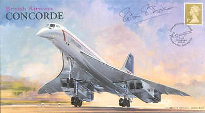 AV600 BAC CONCORDE test pilot PETER BAKER signed cover