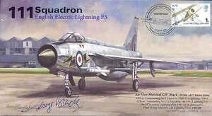 AV600-111-Squadron-English-Electric-Lightning-RAF-cover-hand-signed-AVM-BLACK