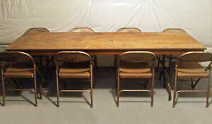 Folding Wood Table & 8 Metal Chairs