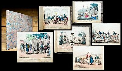 c1830 Karikatur Caricature Szenen aus Wien Kaffeehaus Zirkus Theater 20 Kupfer