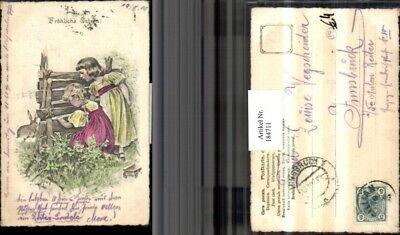 184711,Ostern Mädchen m. Kleider Zaun Hase  ()