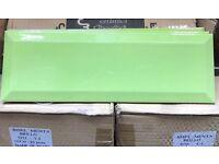 Wall tiles green gloss bevelled