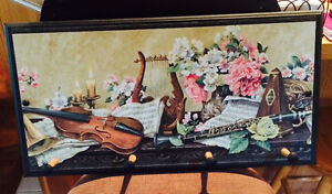 Black Wooden Wall Plaque with pegs. Music theme. Cambridge Kitchener Area image 2