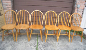 6 Solid Wood Dining Chairs, quite old but still good