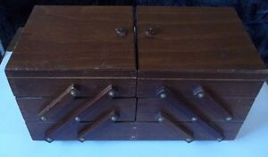 Vintage Wood Folding Sewing Box