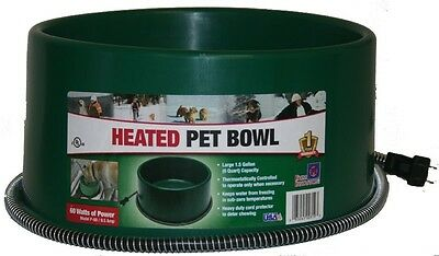 FI HEATED ELECTRIC DOG CAT PET WATER BOWL DISH OUTDOOR WATERER GREEN 1.5 GAL