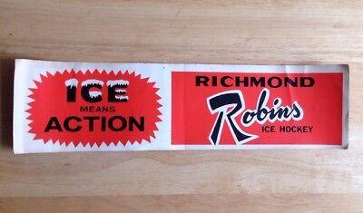 1971 - 1976 RICHMOND ROBINS ICE HOCKEY TEAM BUMPER STICKER, AHL, VINTAGE, VA