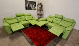 Pistachio 2 x 3 Seater Real Leather Recliner Sofa Set