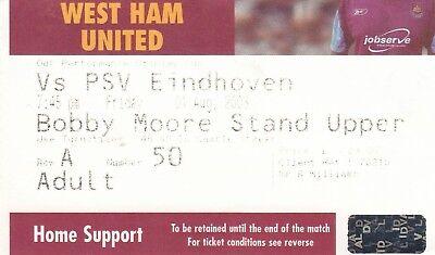 Ticket - West Ham United v PSV Eindhoven 01.08.03 Pre-Season Friendly