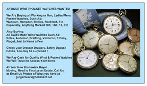 SERIOUS CASH BUYER FOR ANTIQUE POCKET WATCHES, WRIST WATCHES ETC