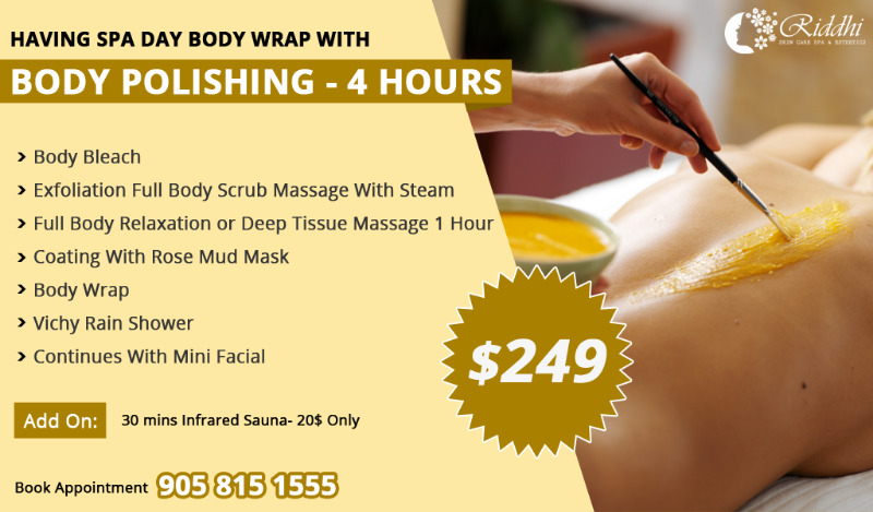 Body wrap -Polishing-4 hr,Massage,Body Wrap,Scrub,Facial,Bleach