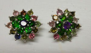 Unusual Chrome Diopside and Tourmaline Earrings