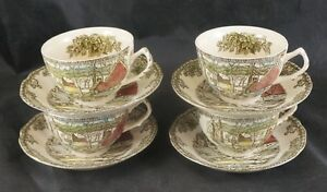 Johnson Brothers FRIENDLY VILLAGE Cups and Saucers $3.00 Each