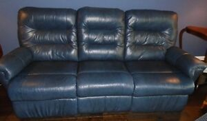 NAVY BLUE PALLASER LEATHER SOFA AND LOVESEAT