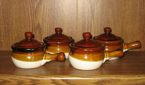 traditional onion soup  crock bowls with lids