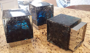 Mid Century Murano Blue Glass Cube Sconces/Ceiling Lights/Lamp