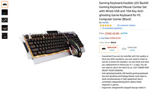 Gaming Keyboard + mouse (backlit), comes with mousepad UNOPENED