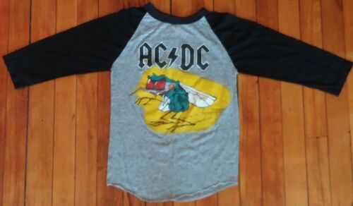 ✰ ACDC ViNtAgE 1985 Fly On The Wall Tour Concert 2-Side 3/4 Slv T-Shirt S AC/DC✰