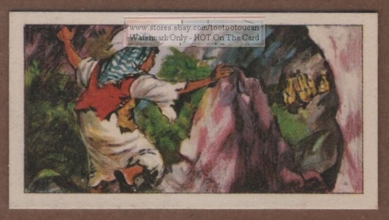 1949 Discovery of Dead Sea Scrolls Qumran Caves West Bank  Vintage Ad Trade Card