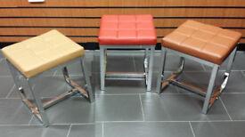 Small leather stool shoe seat Chrome nail bar Footstool