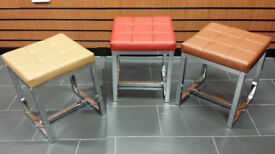 Small leather stool shoe seat Chrome nail bar Footstool