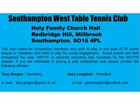 Southampton West Table Tennis Club