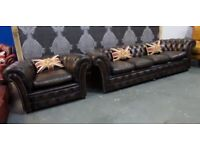 Refurbished Vintage Chesterfield 4 Seater Sofa & Large Club Chair in Brown Leather - UK Delivery