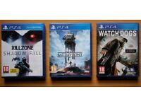 Ps4 games. Starwars Battlefront, Killzone, watch dogs, Doom, Ufc