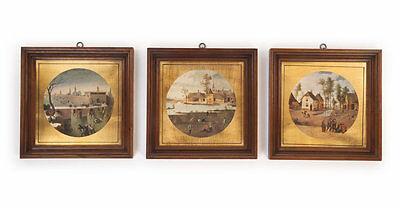 3 Landschafts-Bilder Holzrahmen Gold-Passepartouts Äusserst dekorativ