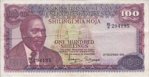 KENYA BANKNOTE  P14a-4195 100 SHILLINGS 1974  PFX B/6  VF