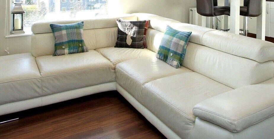 Cream Leather Corner Sofa In Aberdeen