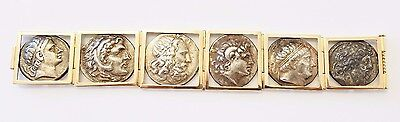 14K Solid Yellow Gold Roman Coin Bracelet 8 inches Long with Old Roman Coins