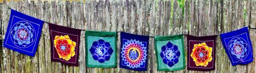 Bali Batik Art Prayer Flag Banner Meditation Yoga Chakras Garden or Wall Hanging