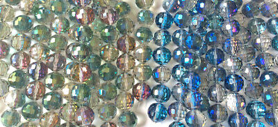 Blue Round Glass (Blue Green Chinese Crystal Faceted Round Glass Beads 14mm Q2)