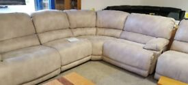 Large corner sofa with 2 electric recliners
