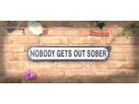 Brand New Nobody Gets Out Sober Vintage Hardwood Road Sign