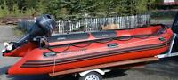 14 foot quicksilver inflatable boat with 30hp motor and trailer