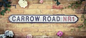Extra Large Black/White Crackle Effect Hardwood Road Sign 'Carrow Road NR1'
