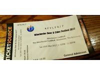 Winchester Beer and Cider Festival Saturday evening ticket