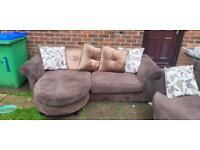 Stunning brown cordid dfs®️ fabric corner sofa and cuddle chair