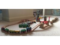Wooden Train set including Thomas & Friends engines, crane, trucks and track