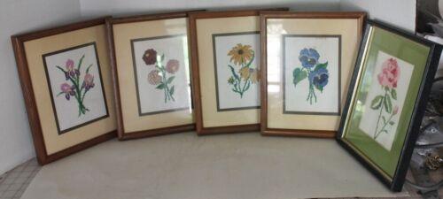 "Lot 5 VTG Handmade Cross Stitch Framed Floral Wall Decor-Framed/Matted 11"" x 9"""