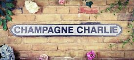 Brand New Extra Large 15cm x 80cm vintage rustic look Champagne Charlie Road Sign Style