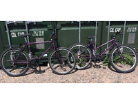 "2 x Raleigh vintage matching mountain bikes, his & hers, 20"" mens 10 speed, 18"" lady's 5 speed,"