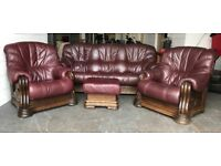 Cherry Red leather Chesterfield 4pc sofa set delivery possible