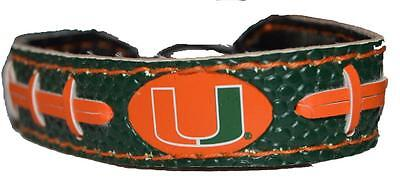 - Official Miami Hurricanes Team Color NCAA Gamewear Leather Football Bracelet